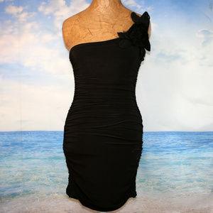 Body Central Black One Shoulder Cocktail Dress